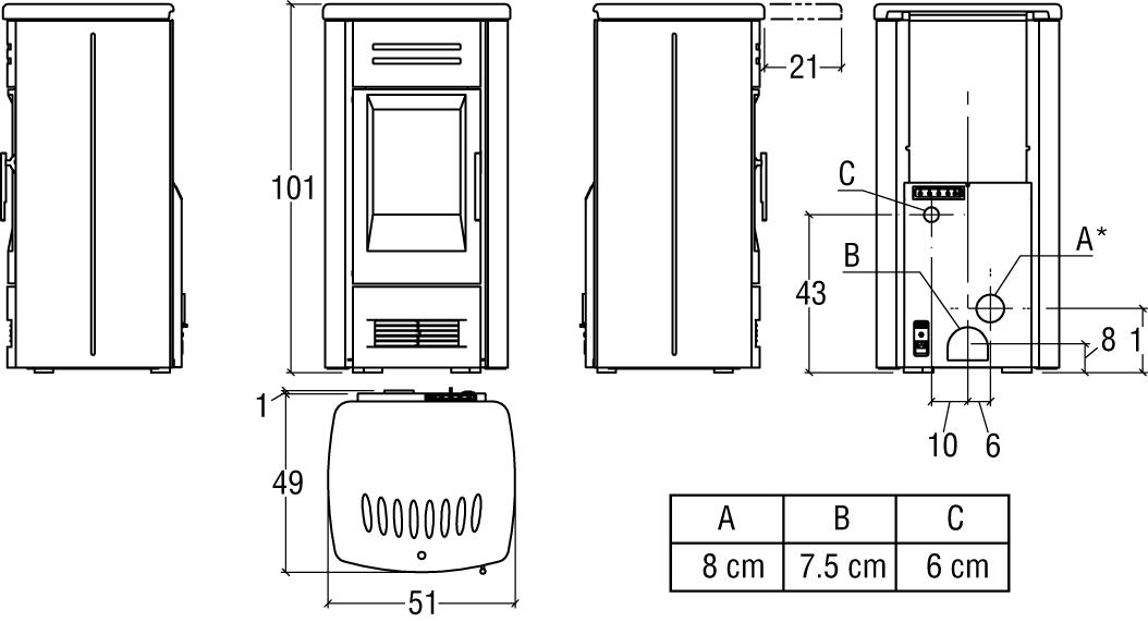 P06045160 P958 M noir FR schema hd 1 - Poêle PREMIUM LINE P958M
