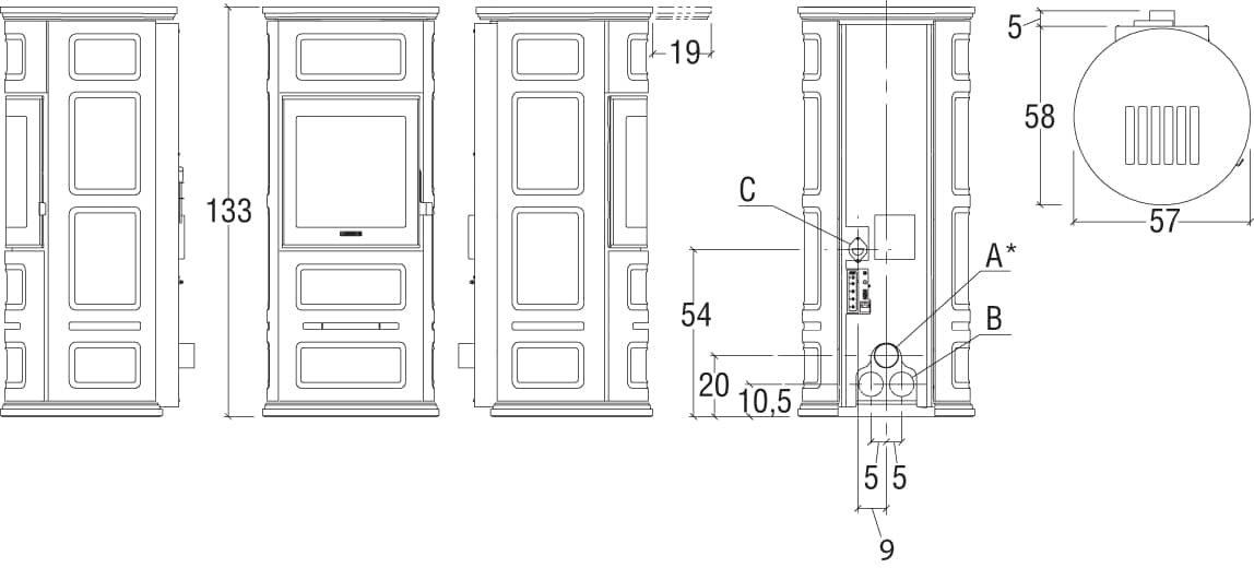 P06056550 P943 terre orient schema hd 1 - Poêle PREMIUM LINE P943